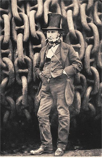 Brunel with the launching chains of the SS Great Eastern, his later and most famous ship (public domain)
