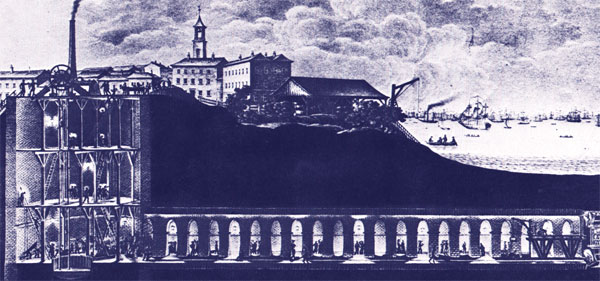 Thames Tunnel, Lithograph by Taulman after Bonisch (public domain)